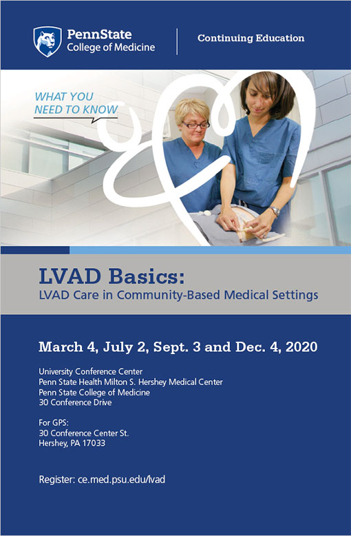 The cover of a brochure describing LVAD Basics includes the event's dates, times and locations as well as a stock photo of two medical professionals.