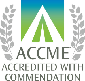 "The ACCME logo, a background gradient from blue to green top to bottom with an inverse white stylized ""A"" that looks like a caret pointing upward with a field of the background inside and a smaller white triangle inside that, sits atop text reading ""ACCME Accredited with Commendation"" below it. Gray laurels are on the left and ride sides, starting from the baseline of ""ACCME"" and continuing up to the top of the image."