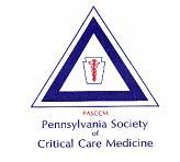 Pennsylvania Society of Critical Care Medicine's logo is a triangle with a keystone, a caduceus and the group's name.
