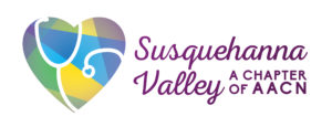 The Susquehanna Valley A Chapter of AACN logo includes the name, and a heart with multiple colors and a stethoscope on it.