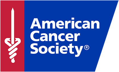 The logo for the American Cancer Society includes the group's name and its logo, a caduceus with a sword.