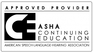 "A logomark for the American Speech-Language-Hearing Association. The top line says ""Approved Provider,"" the middle has a stylized white ""C"" superimposed over a large block black E, with ""ASHA Continuing Education"" off to the right. A line separates the logomark with the bottom, which says ""American Speech-Language-Hearing Association."""