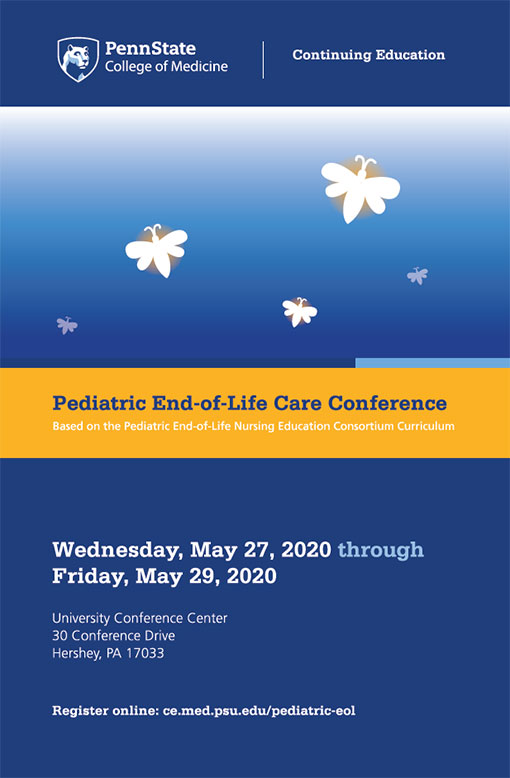 The cover of a brochure describing Pediatric End-of-Life Care Conference includes the event's date, time and location as well as an abstract graphic of fireflies.