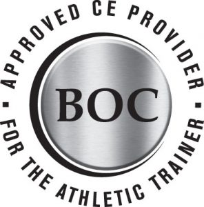 """A logo shaped like a circle says """"BOC"""" in the center, with the text """"Approved CE Provider for the Athletic Trainer"""" going around the outside of it."""
