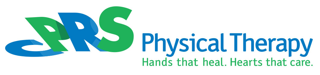 "The logo for CPRS Physical Therapy includes the organization's name and the text ""Hands that heal. Hearts that care"" below it."