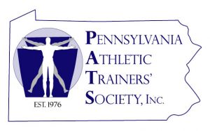 "The logo for the Pennsylvania Athletic Trainers' Society includes the society name at right, set inside an outline of the shape of the state of Pennsylvania. At left is an image of a keystone with the outline of two people superimposed on top of it and the text ""Est. 1976"" below that."