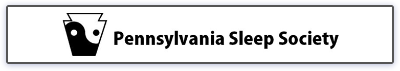 The logo for Pennsylvania Sleep Society includes the group's name and, to the left, the shape of the keystone with a yin-yang pattern inside it.