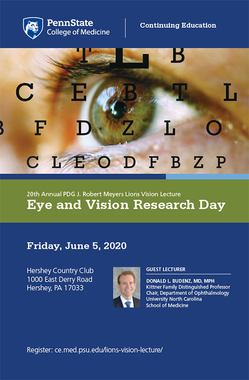 The cover of a brochure describing Eye and Vision Research Day includes the event's date, time and location as well as a stock photo of a vision-testing chart over a stock photo of an eye.