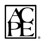 "The ACPE logo, black vaguely Romanic text with ""AC"" stacked directly on top of ""PE,"" surrounded by a black-box border."