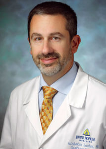 A head-and-shoulders professional photo shows Nicholas Zachos, PhD, of Johns Hopkins University.